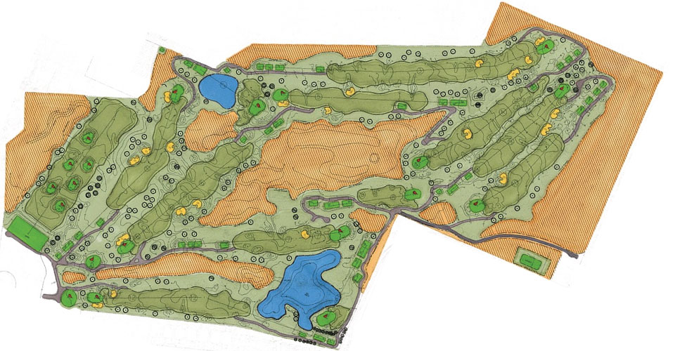 Course layout overview for Hawk's Landing Golf Club